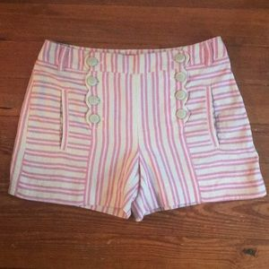 Anthropologie pink and ivory striped shorts